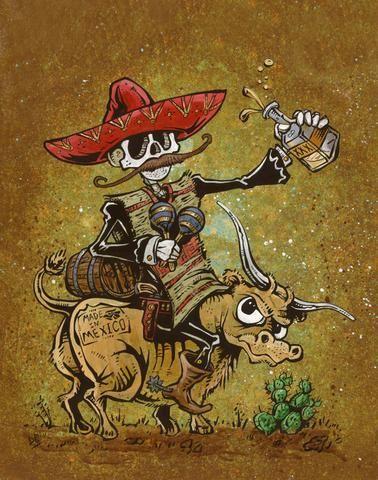Day of the Dead Artist David Lozeau, Party 'Til the Cows Come Home, Wild West Art, David Lozeau Dia de los Muertos Art