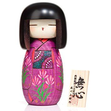 Girl in Violet Kimono Large Wooden Kokeshi Doll