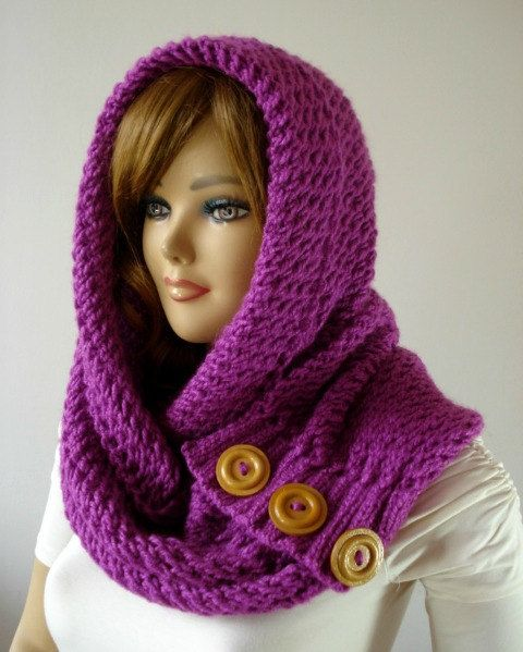 KNITTING PATTERN HOODED Cowl Scarf  LouLou Kiss by LiliaCraftParty