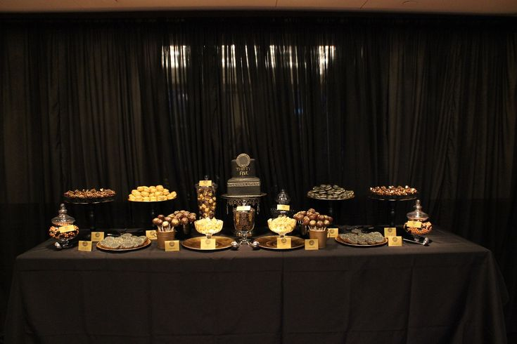 gold and black buffet