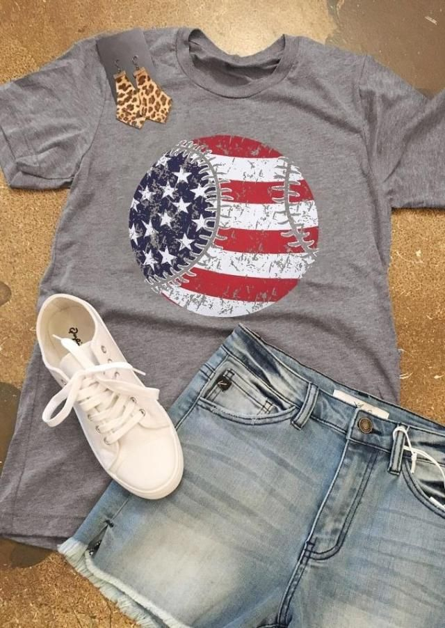 98903daf American Flag Baseball Printed T-Shirt Black | Renoz in 2019 ...