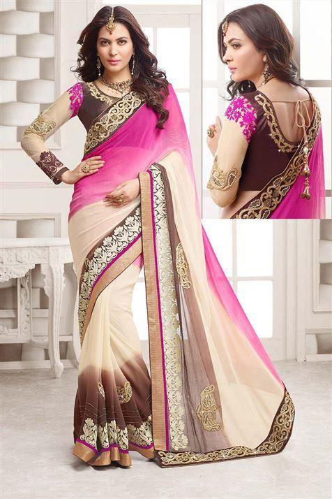 Hot Pink, Ivory, Chocolate Georgette Designer party wear saree