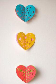 cut paper hearts garland