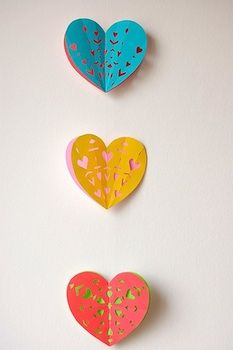 cut paper hearts garland