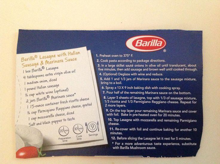 Barilla Lasagna box recipe