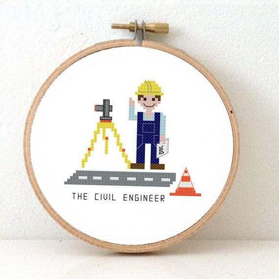 DIY GIFT for Civil Engineer. Modern jobs cross stitch by koekoek #civilengineer #engineer #birthdaygift #jobs #engineeringjobs #giftforhim #giftforfather #giftforfriend #diygift #profession #jobpatterns #work #constructionworker #roadengineer #safetyhelmet #theodolite