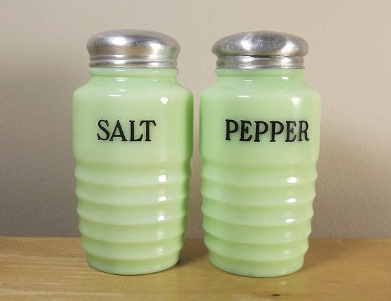 Jeannette Jadite Jadeite Salt and Pepper Shakers by TheGreenFinch, $110.00