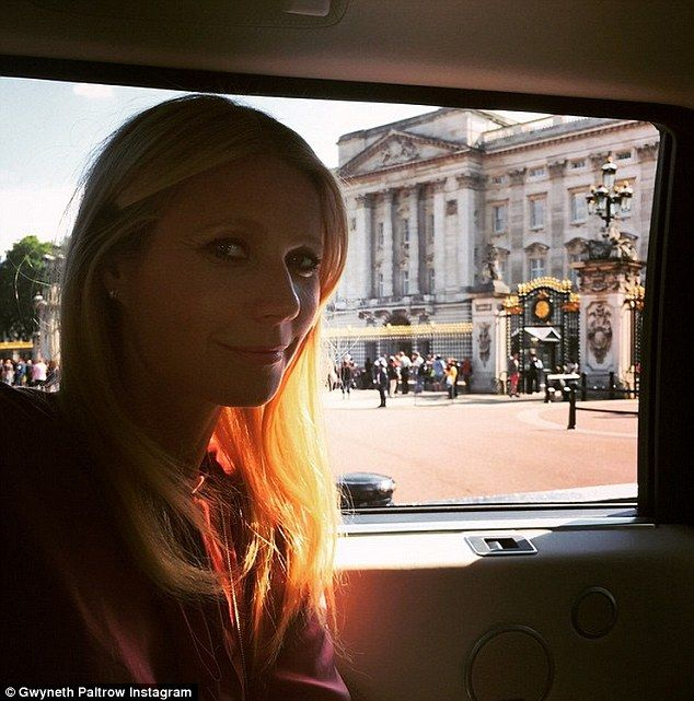 Sadly missed: The 42 year-old, pictured this week at Buckingham Palace in London, also posted a tribute to her own late father, Bruce Paltrow, who died three weeks before she met Chris in 2002
