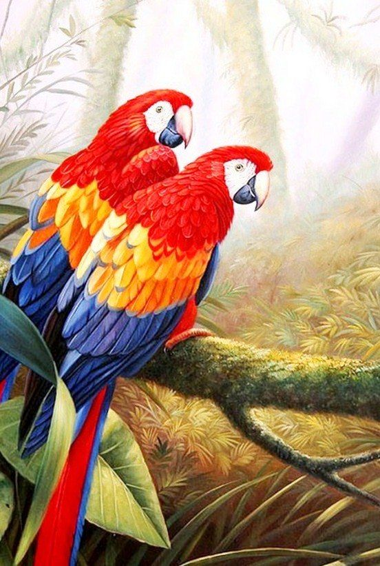 Pintura Moderna al Óleo: Paisajes con aves