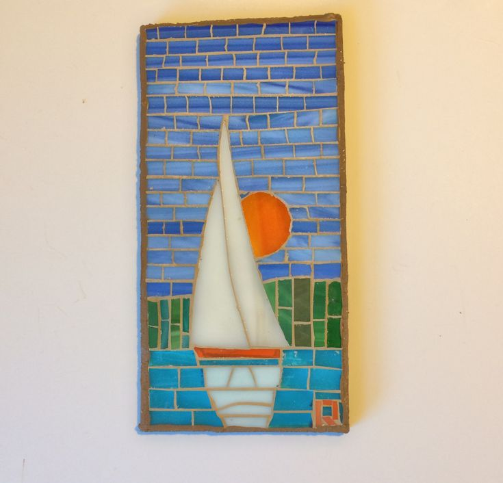 Sloop upwind with red sun8A1B20 by LachanceGlassMosaic on Etsy