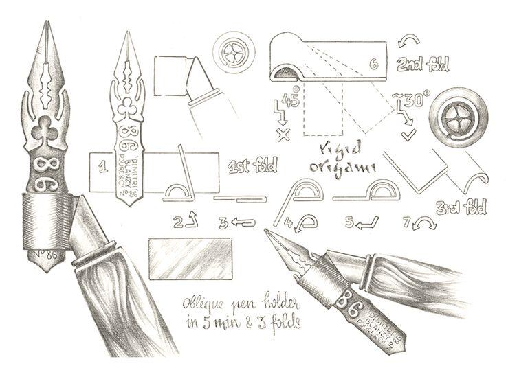 Oblique pen holder in 5 min & 3 folds