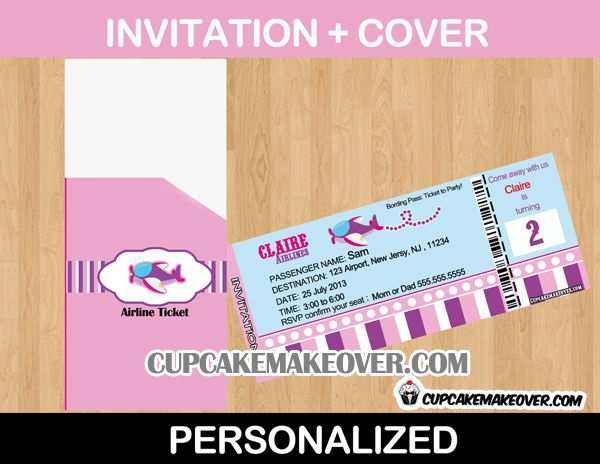 22 best Airplane Birthday Theme images on Pinterest Aircraft - airplane ticket invitations
