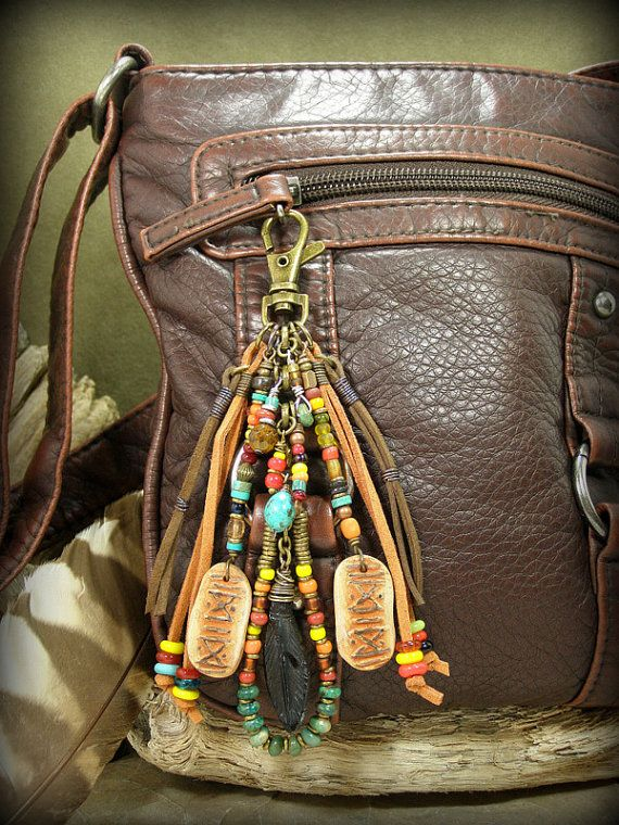 Tribal inspired...this clip can be used in so many ways! Clip it on your purse, zipper, belt loop on your jeans or your back pack. Beaded in a