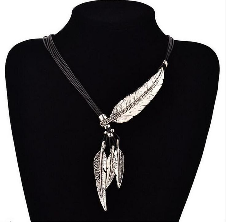 Collar bright feather – silver