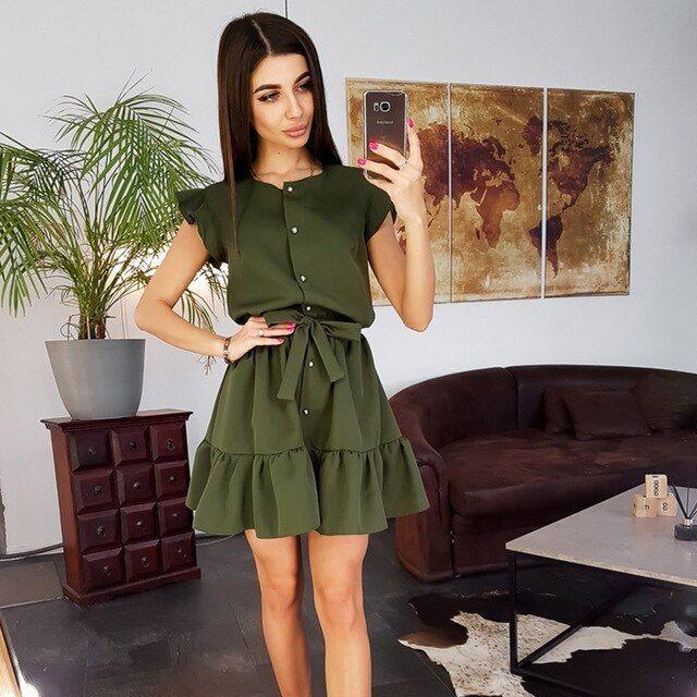 Mulheres vintage babados faixas sólidos aline mini vestido de manga curta o pescoço botão vestido de festa verão mulheres vestem  – Products