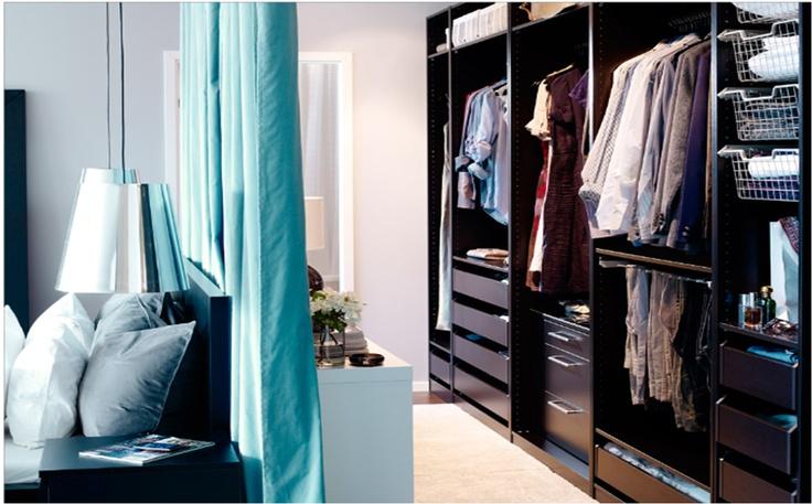 Walk through wardrobe behind bed Wardrobe behind bed
