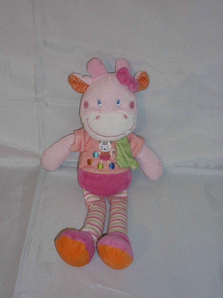 Doudou vache rose et rayure motif chat Mots d'Enfants