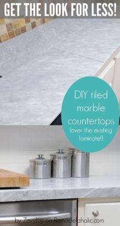 DIY tiled marble countertops, a budget-friendly alternative to pricy marble slab countertops AND you can install them over the existing laminate countertops. Details on @Remodelaholic