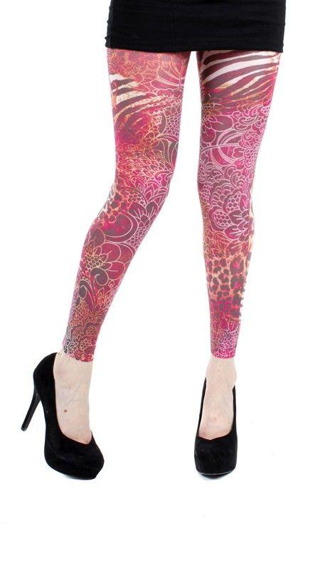 Jungle Lace Printed Footless Tights - Pamela Mann