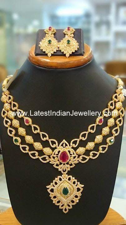3 Step CZ Necklace | Latest Indian Jewellery Designs