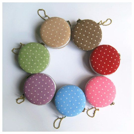 6.2cm Macaron Coin Purse / Mini Jewelry Box  Polka Dots