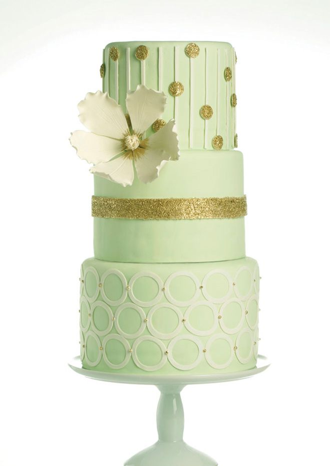 Mint Green & Gold Wedding Cake