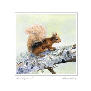 Blank greetings card of Red Squirrel from a painting by wildlife artist Roger Lee
