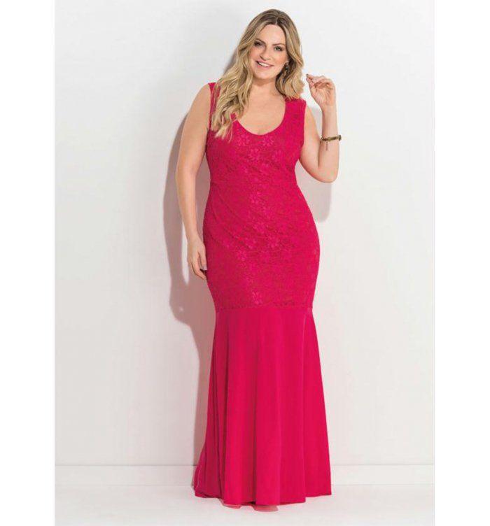 9d44215e2c Vestido de Festa Plus Size Longo com Renda Rosa Quintess Tam  46-60 Clique