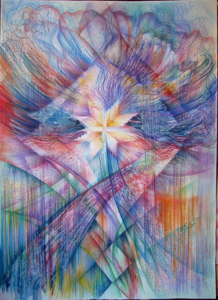 Flower in the garden- colored pencils, 70/50 cm, 2014, Derecichei Simona Mihaela