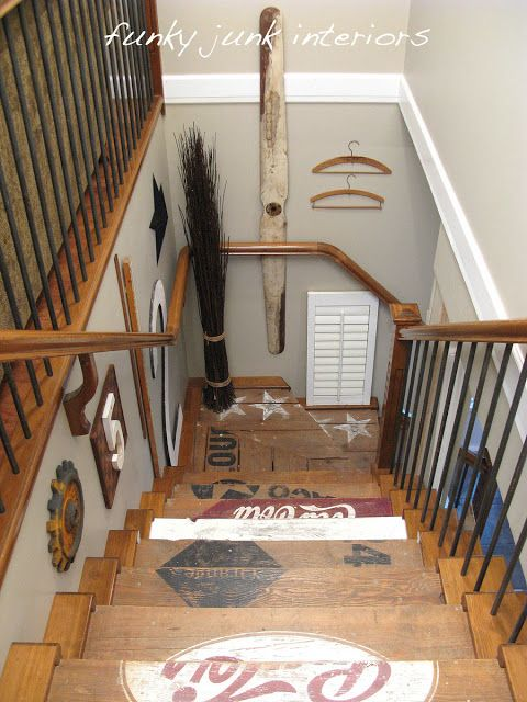 -Like design going down the wall. Painted wooden crate stairs | Funky Junk InteriorsFunky Junk Interiors