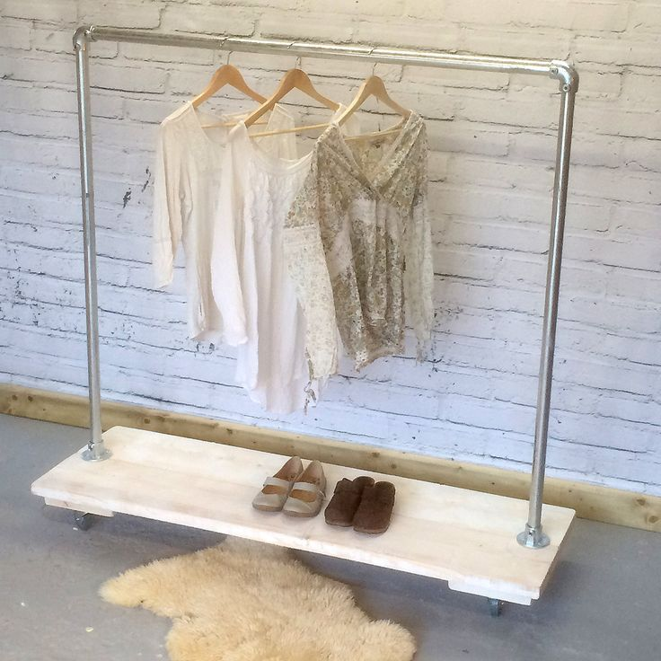 Clothing and Shoe Rack in Industrial Style Scaffold. Loft Style, Heavy Duty Clothes Rail. Made to Measure Storage Hanger.