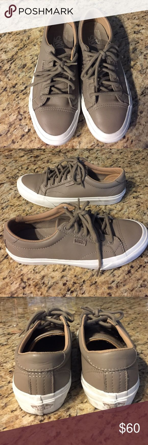 Vans Leather Court DX - Women's Sneakers The sneaker trend is here to stay. Work once Leather Vans in Super Taupe, such a neutral color that goes with everything. Excellent condition. Super comfortable, gave me no blisters like some fashion sneakers do. I threw away the box but have the receipt attached. They were purchased on 11/9/16.  Feel free to make an offer. They retail for $81 w/ tax. Vans Shoes Sneakers