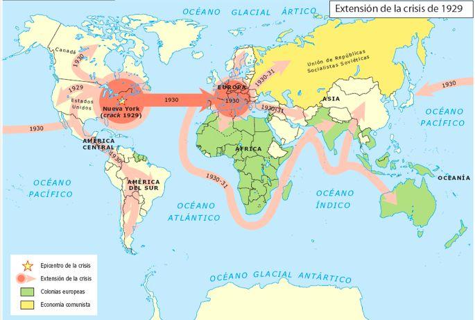 Resultado de imagen para crisis economica mundial de 1929 mapa historico