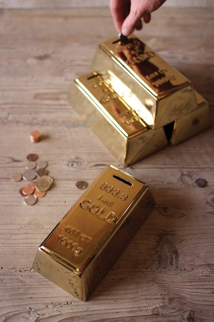 Ceramic Gold Brick Bank. Grown up piggie bank for saving extra coins.