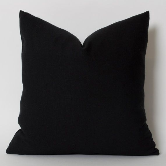 Solid Black Pillow Cover ANY SIZE Black Couch Pillow by pillowme