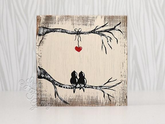 Love Birds Painting On Reclaimed Wood 5th Anniversary Gift For
