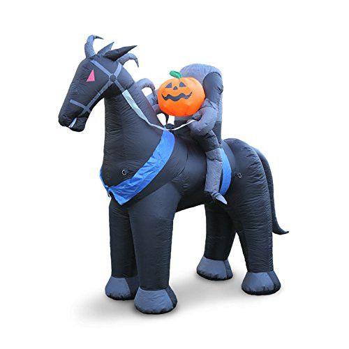Holidayana Headless Horseman Inflatable 6 Feet Tall Outdoor Halloween Lawn Decoration. Self Inflating Blow up Lawn Art #halloween #decor
