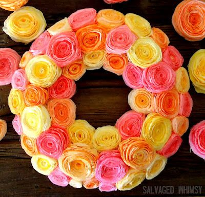 coffee filter wreath. could use crepe paper or craft paper too.