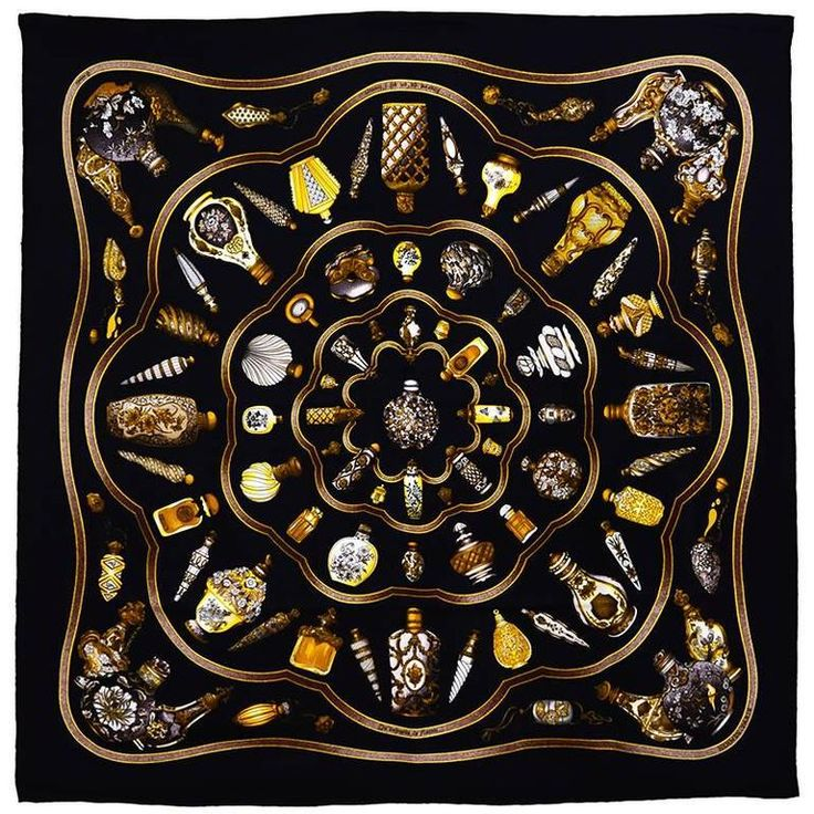 Hermes Perfume Bottle Silk Scarf   From a collection of rare vintage scarves at https://www.1stdibs.com/fashion/accessories/scarves/