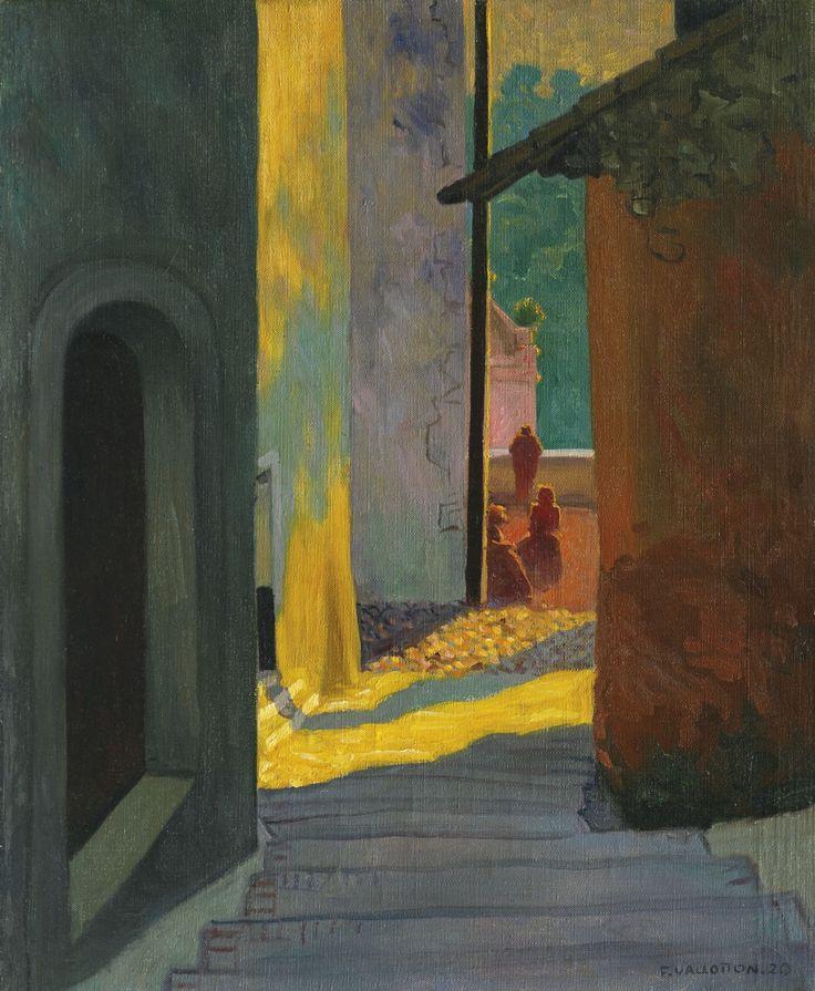 Félix Vallotton (Swiss, 1865-1925), Vieille rue de Cagnes, soleil couchant [Old street in Cagnes, sunset], 1920. Oil on canvas, 65 x 54 cm.