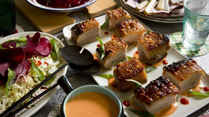 Get cracking on this roasted pork belly with Sriracha mayonnaise and Vietnamese mint and chilli slaw. A rich, fresh and fiery dish!