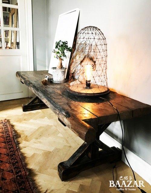BE-090 Soffbord/bänk med antik kinesisk dörr som skiva.