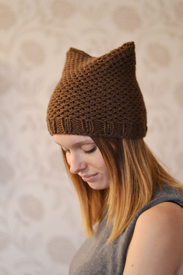 bd85c875258 Womens Brown Chunky Knit Cat Hat £15.00  folksy  folksyshop  folksy365   folksysellers  folksyfinds  britishcrafters  tweetmaster