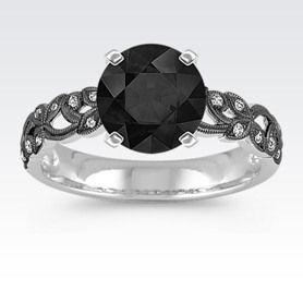 Vintage Diamond Engagement Ring with Black Rhodium with Round Black Sapphire