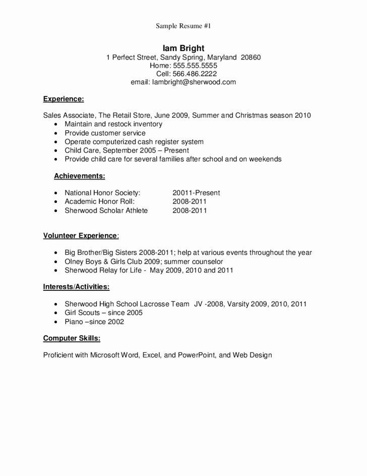 Graduate School Resume Examples Fresh Sample Resume For High