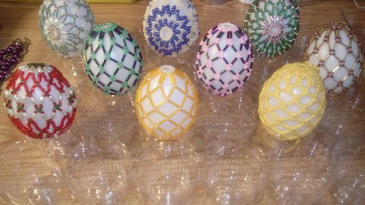 Tojás, húsvéti, gyöngy, piros, zöld, sárga
