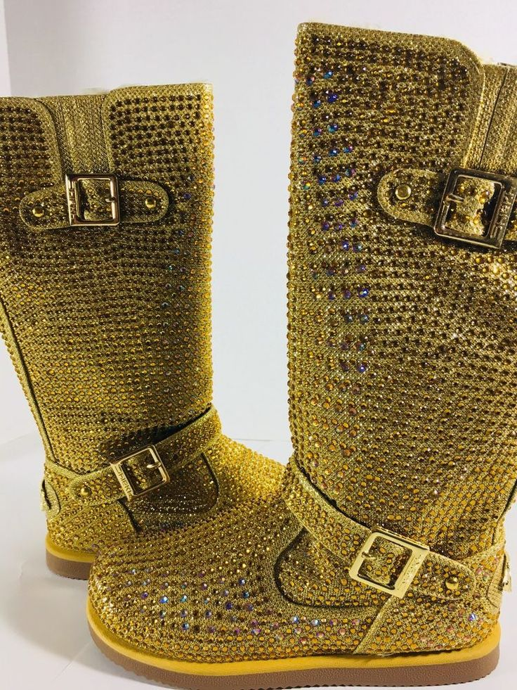 NEW Urban Glitter high Gold Crystal Rhinestone winter Mid-calf boots #Unbranded #MidCalfBoots #Party #rhinestoneboots #boots