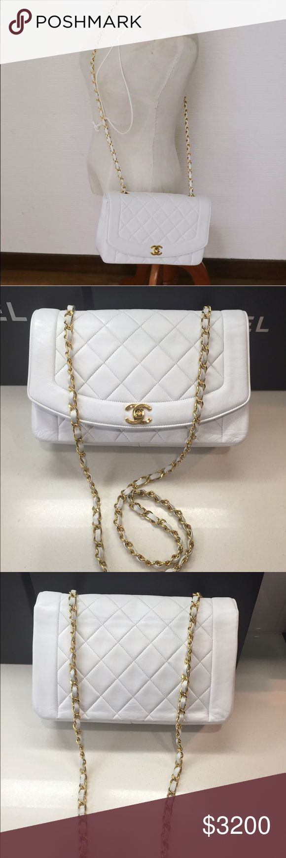 """Auth CHANEL White Princess Diana Single Flap CHANEL Vintage Medium Classic Quilted """"Diana"""" Single Flap Cross-body Shoulder Bag   100% Authentic White Lambskin Leather 24k gold plated hardware  Approximate L 10"""" x H 6.5"""" x D 3"""" Shoulder drop 21"""" Condition: Beautiful Preowned Condition with minor wrinkles Made in France  Includes: Dust bag without the hologram sticker intact  More photos are available CHANEL Bags Crossbody Bags"""