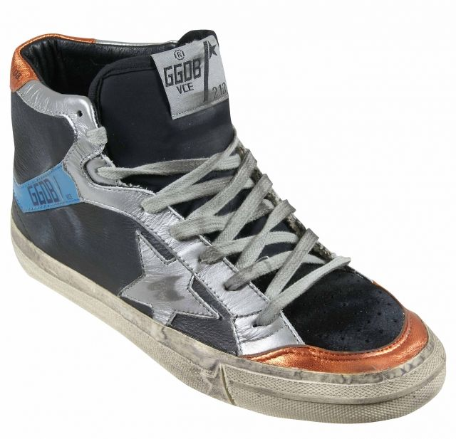 Golden Goose  Black Leather and Orange Sneakers