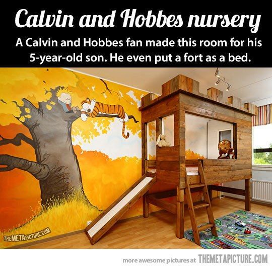 cool fort bed and Calvin and Hobbes mural for kids bedroom!